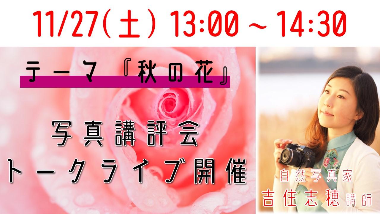 【写真】11/27(土)13:00~『自然写真家 吉住志穂氏 写真講評会トークライブ テーマ~秋の花~』